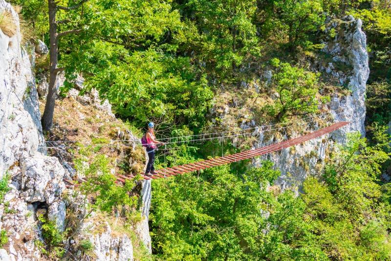 Lady tourist on suspended wooden via ferrata bridge on a route called `Casa Zmeului` in Vadu Crisului, Padurea Craiului mountains. Apuseni, Romania, on a stock photography
