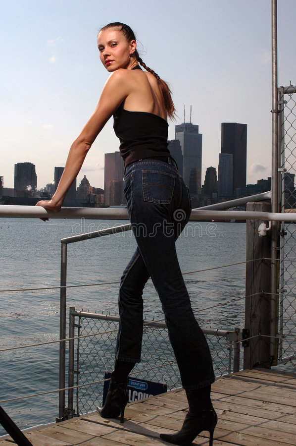 Download Lady on Urban water-front stock photo. Image of megapolis - 1723566