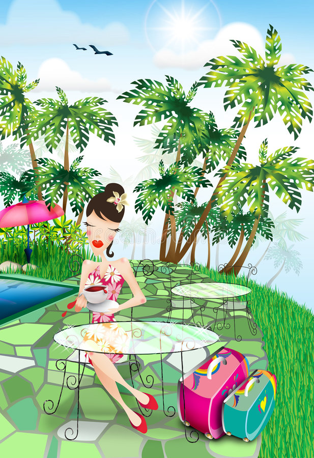 Download Lady on Vacation stock illustration. Image of painting - 6801996