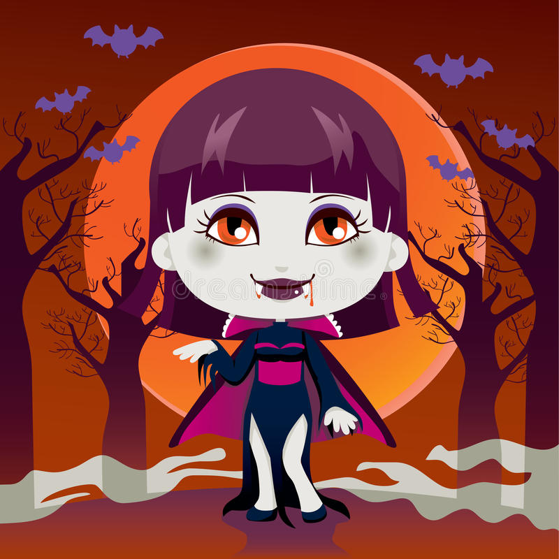 Download Lady Vampire stock vector. Image of cheerful, blood, happy - 21536414