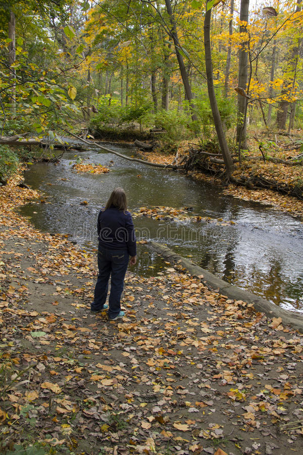 Lady Viewing Fall Scene with River stock photos