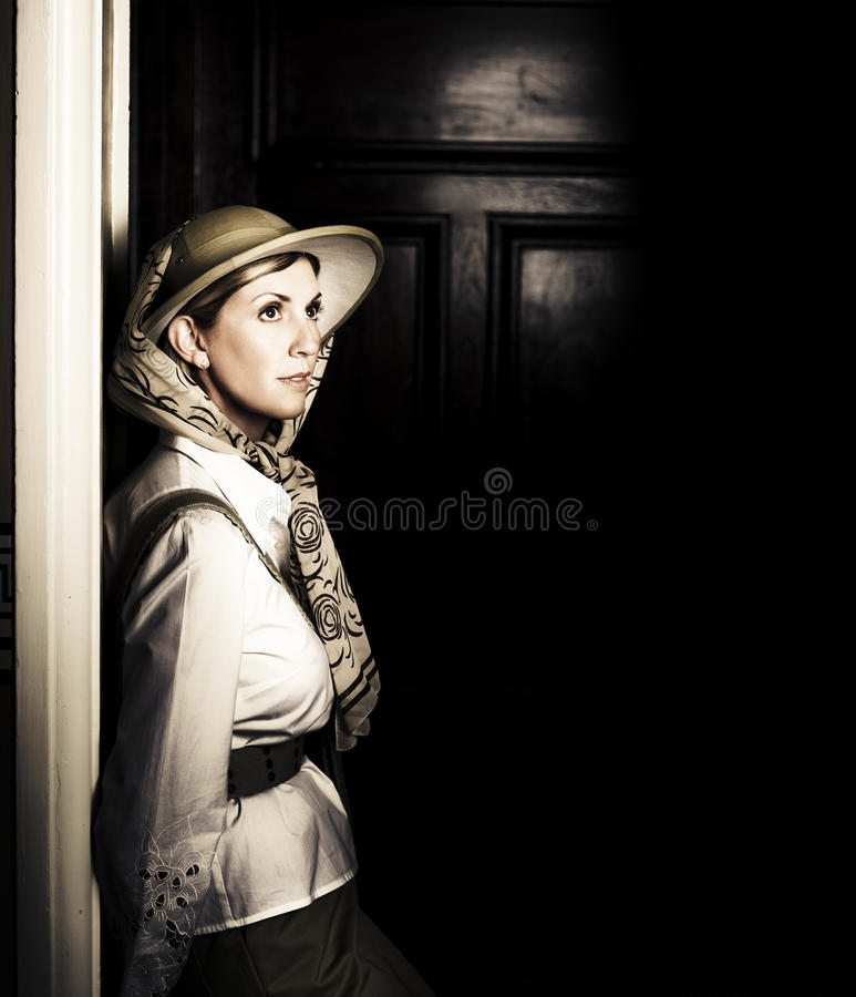 Download Lady In Vintage Attire At Night Royalty Free Stock Photo - Image: 24101155
