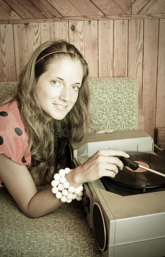 Download Lady With  Vinyl Plate And Record Player Stock Photo - Image: 15434778