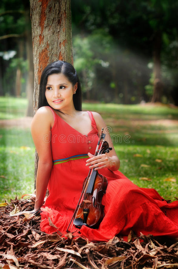 Lady With A Violin Stock Image