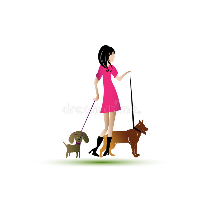Download Lady walking dogs logo stock vector. Illustration of graphic - 28851372