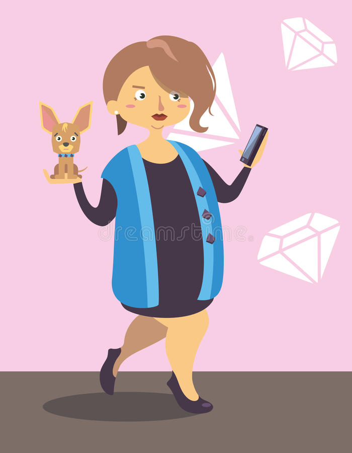 Lady walking with little dog. And take a photo shoot royalty free illustration