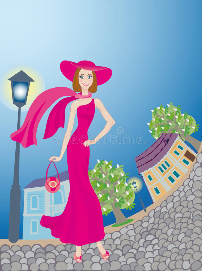 Download Lady  Walks Around An Age-old Town Stock Vector - Illustration: 19740311