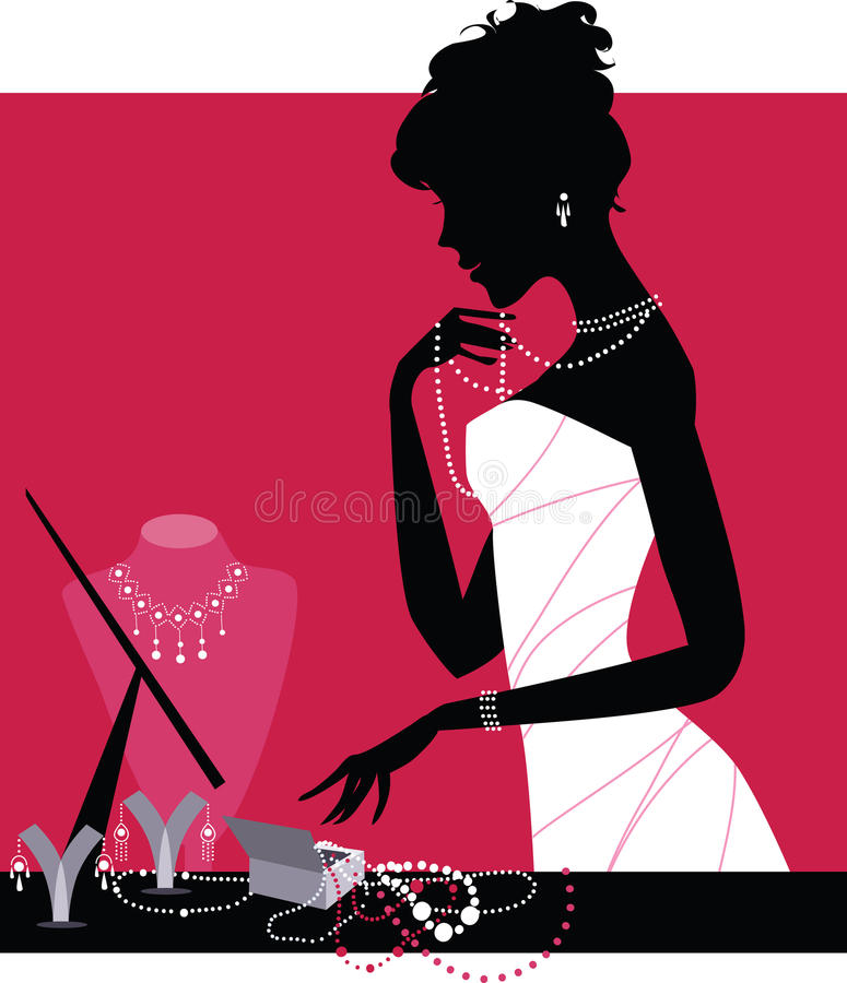 Lady wearing accessories vector illustration