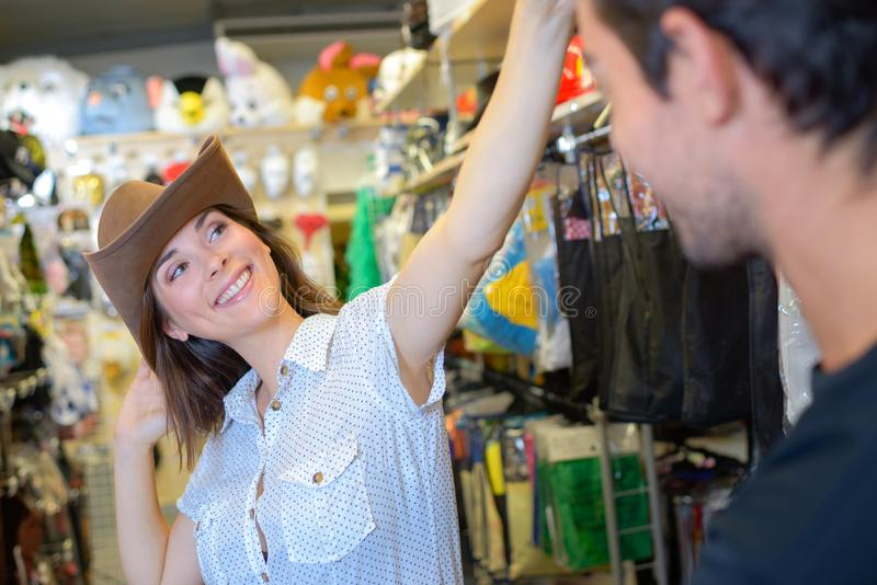 Lady wearing cowboy hat royalty free stock image