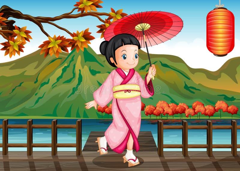 A Lady Wearing A Pink Kimono With An Umbrella Stock Photo