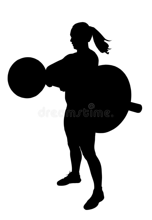 Lady Weight Lifter Silhouette stock photos
