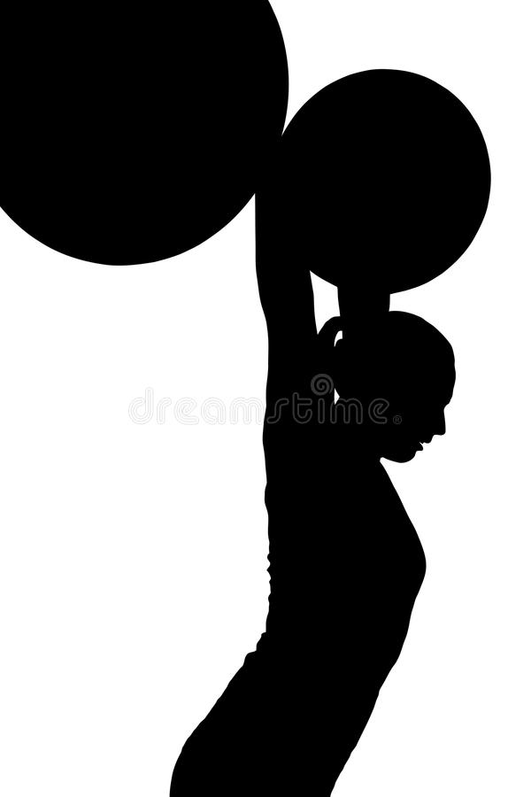 Lady Weight Lifter Silhouette royalty free stock photography