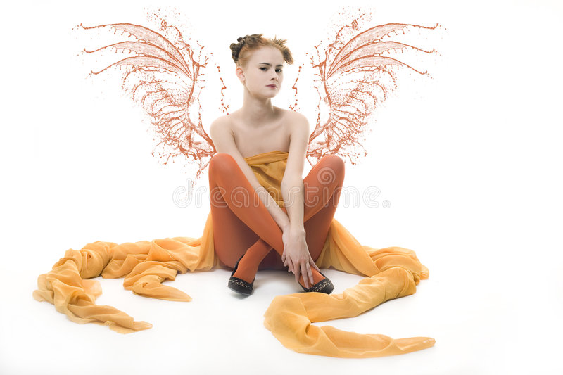Download Lady with wings stock photo. Image of skincare, resting - 6183942