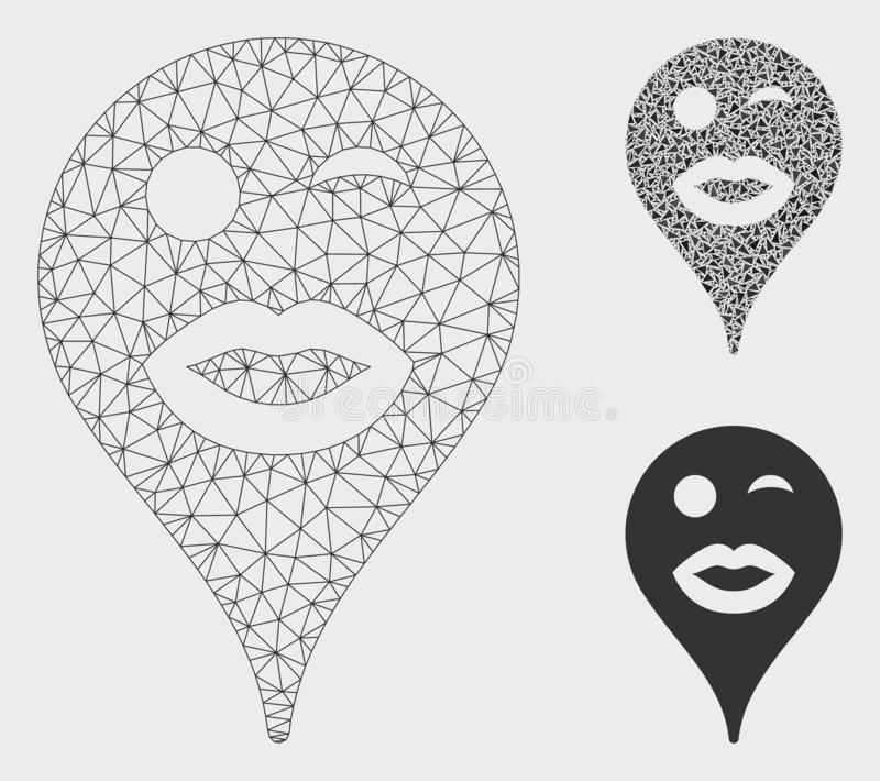 Lady Wink Smiley Map Marker Vector Mesh Network Model and Triangle Mosaic Icon. Mesh lady wink smiley map marker model with triangle mosaic icon. Wire carcass royalty free illustration