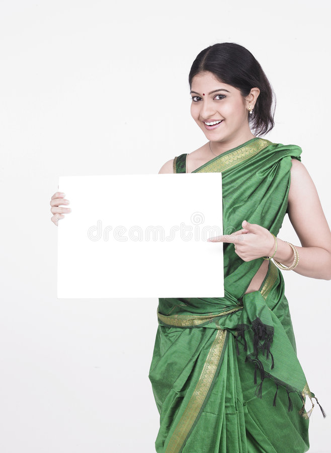 Free Lady With A Blank White Placard Stock Photography - 7332942