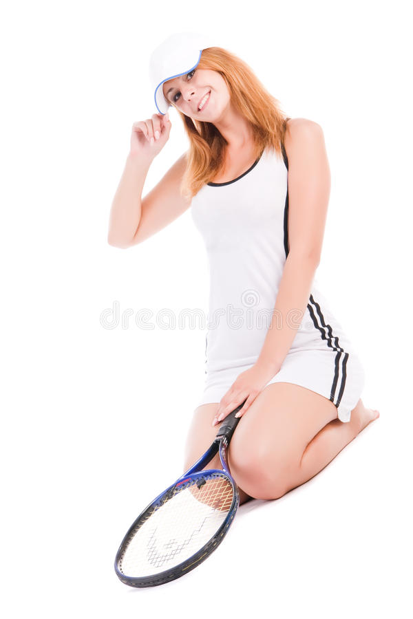 Free Lady With Tennis Racket Stock Image - 10991781