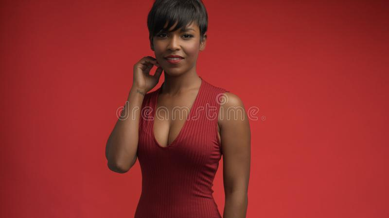 Lady woman in red on red stock images