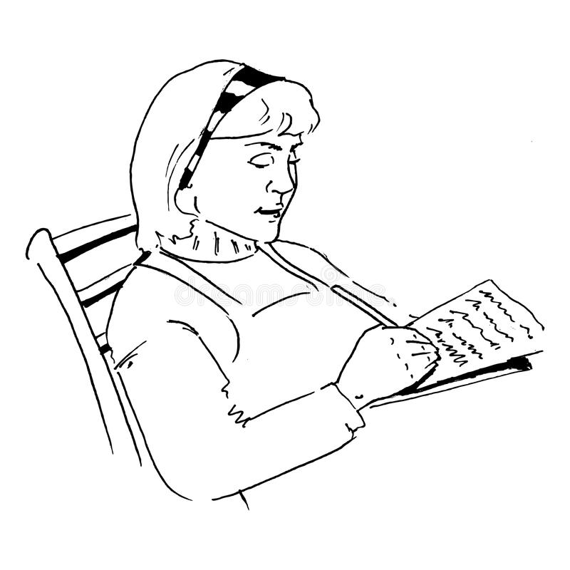 Download A lady writing a letter stock illustration. Image of love - 22801416