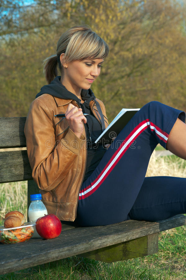 Download Lady Writing Outdoors stock photo. Image of author, outdoor - 9981404