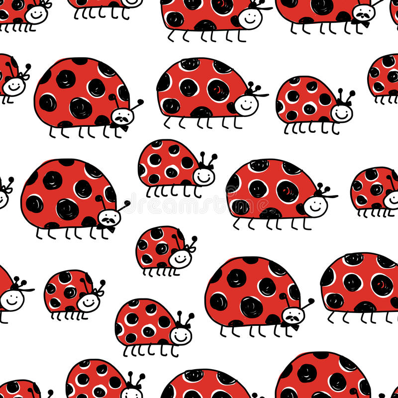 Ladybird family, seamless pattern for your design vector illustration