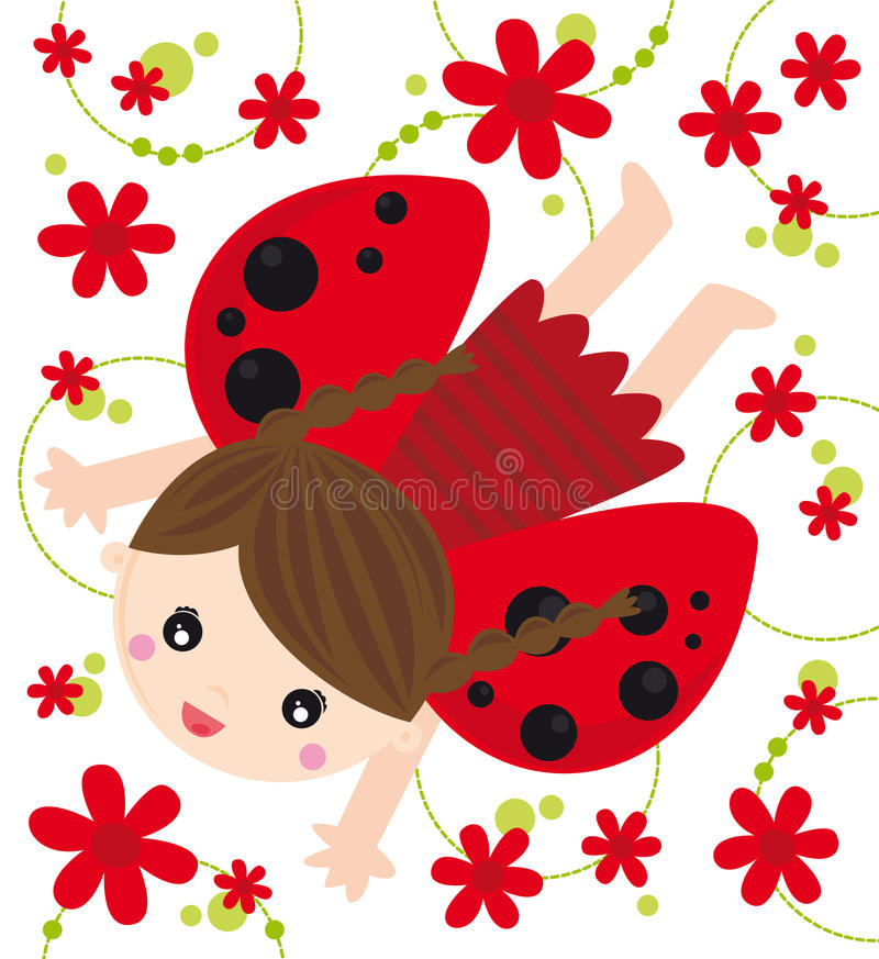 Ladybird girl. Illustration of little ladybird girl with flowers stock illustration