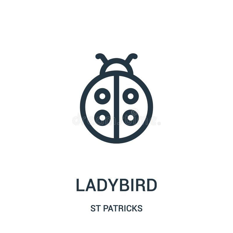ladybird ikony wektor od st patricks inkasowych Cienka kreskowa ladybird konturu ikony wektoru ilustracja Liniowy symbol dla używ ilustracji