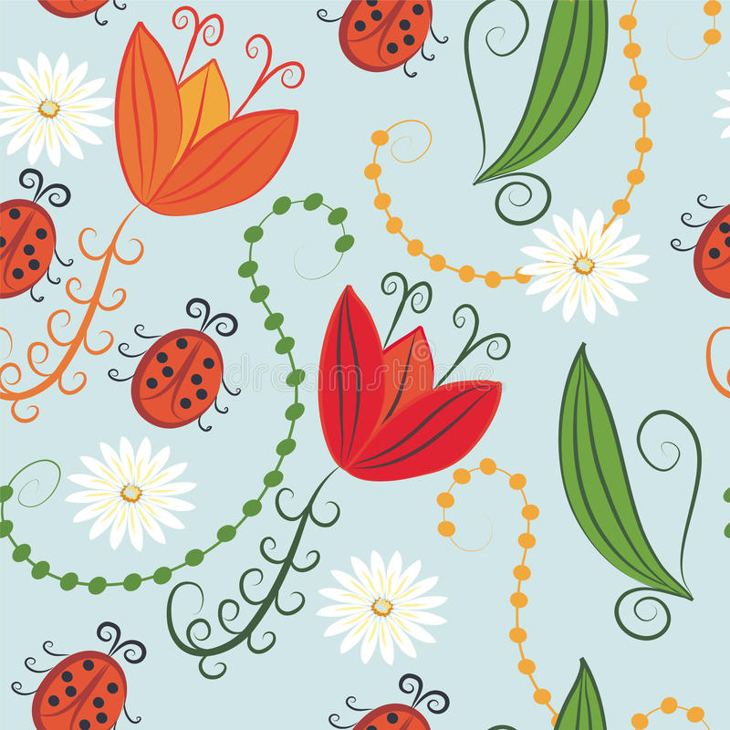 ladybirds делают по образцу безшовные тюльпаны иллюстрация вектора