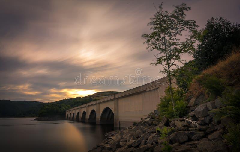 Ladybower Bridge at sunset stock images