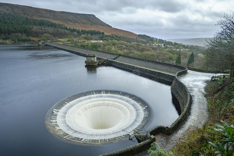 Ladybower Plugholes Overflowing royalty free stock images