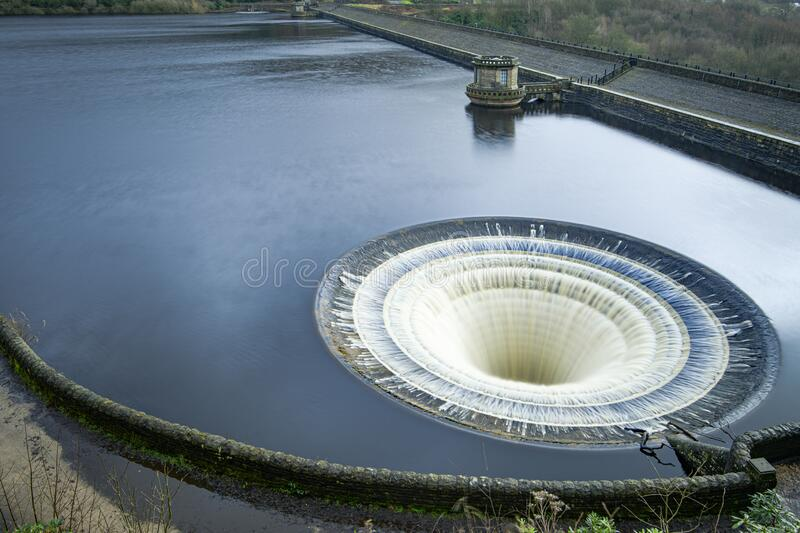 Ladybower Reservoir bell mouth overflow stock photo