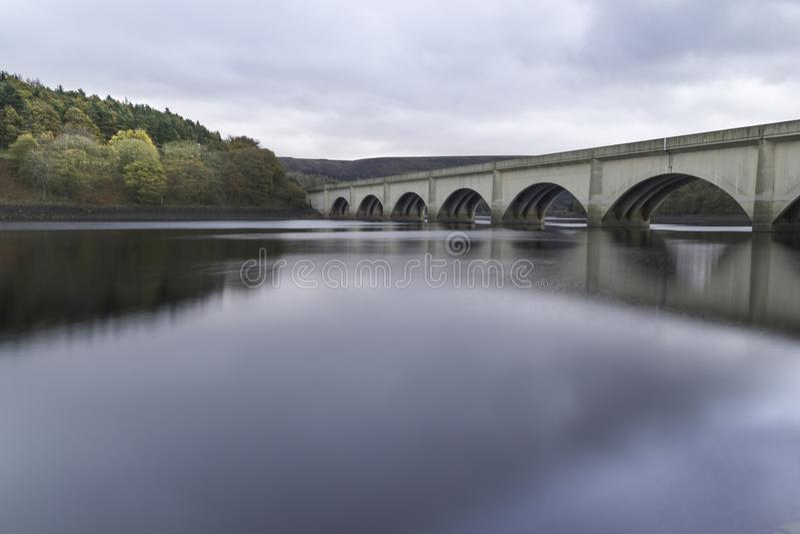 Ladybower reservoir viaduct in the peak district, uk. royalty free stock image