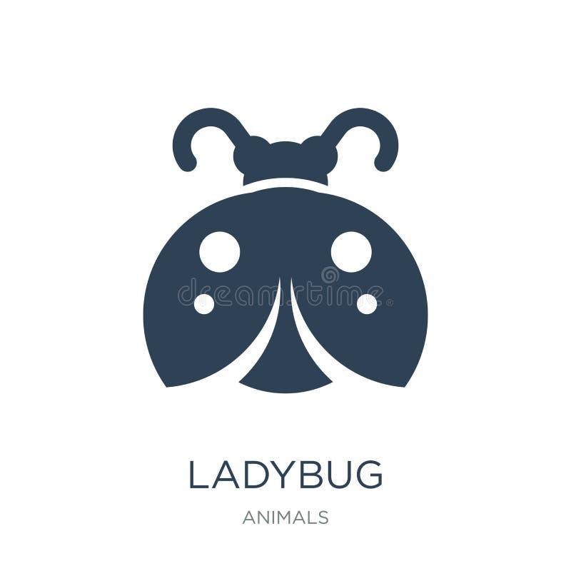 ladybug εικονίδιο στο καθιερώνον τη μόδα ύφος σχεδίου ladybug εικονίδιο που απομονώνεται στο άσπρο υπόβαθρο ladybug διανυσματικό  διανυσματική απεικόνιση