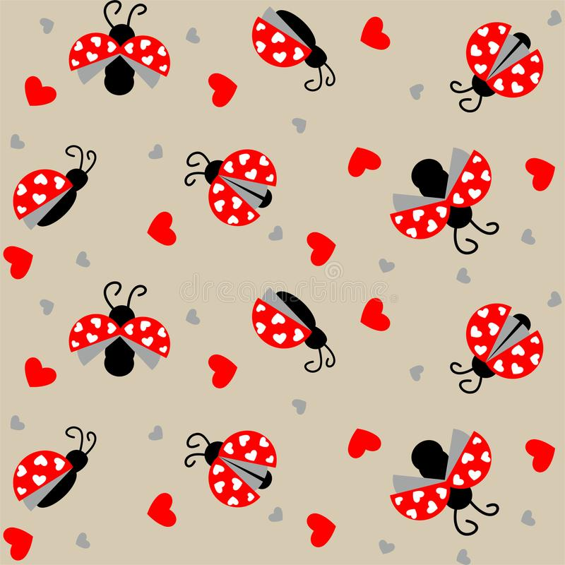 Ladybug με το άνευ ραφής σχέδιο καρδιών - διάνυσμα διανυσματική απεικόνιση