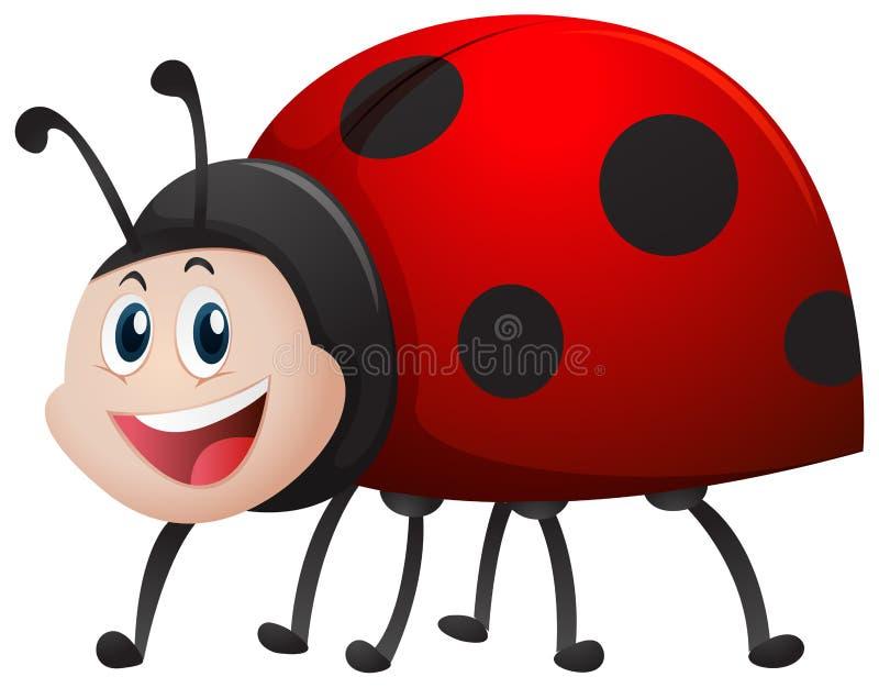 Ladybug με το ευτυχές πρόσωπο απεικόνιση αποθεμάτων