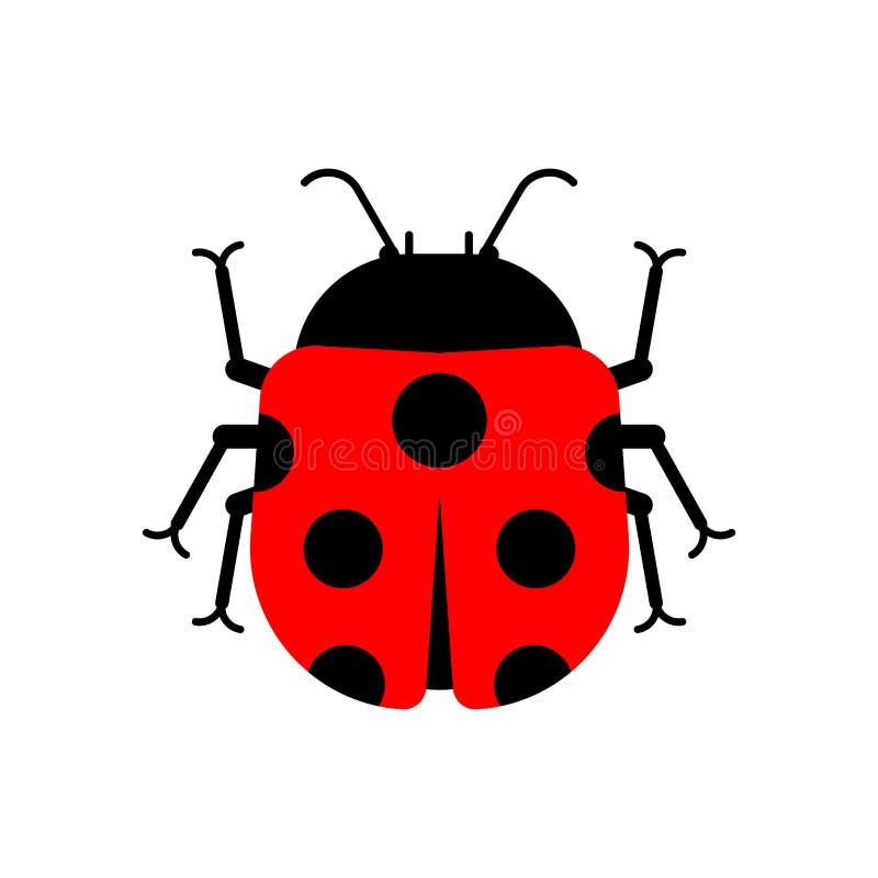 Ladybug που απομονώνεται ύφος κινούμενων σχεδίων ζωύφιου r ελεύθερη απεικόνιση δικαιώματος
