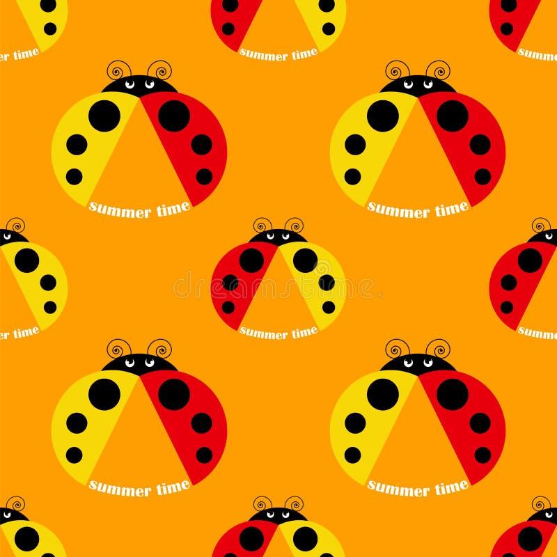 ladybug πρότυπο άνευ ραφής απεικόνιση αποθεμάτων