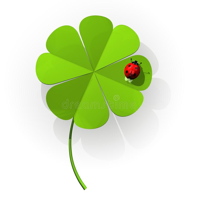 Ladybug σε ένα τριφύλλι τεσσάρων φύλλων ελεύθερη απεικόνιση δικαιώματος