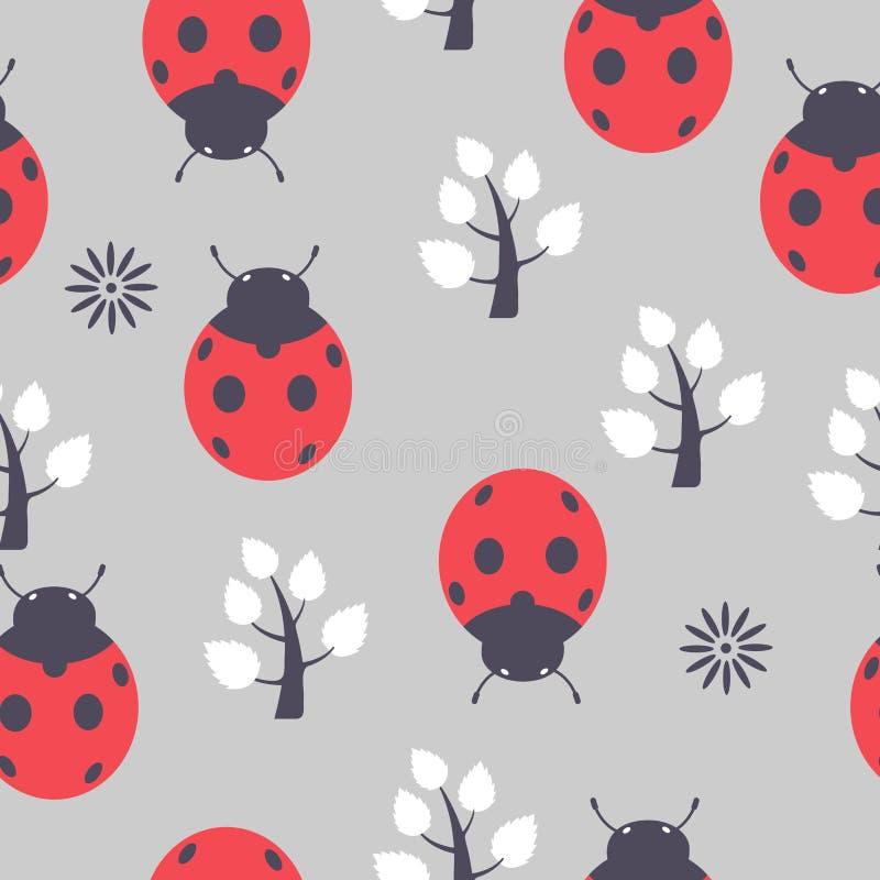 Ladybug безшовный иллюстрация вектора