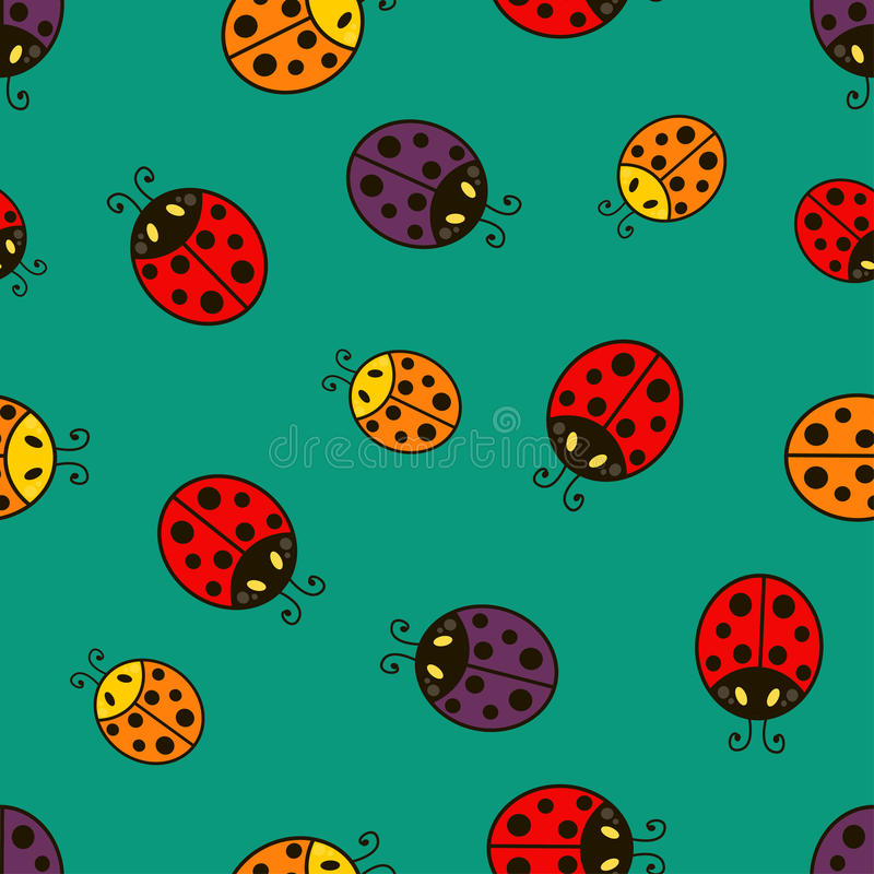 Ladybug вектор картины безшовный бесплатная иллюстрация
