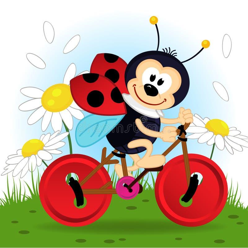 Ladybug на велосипеде иллюстрация вектора