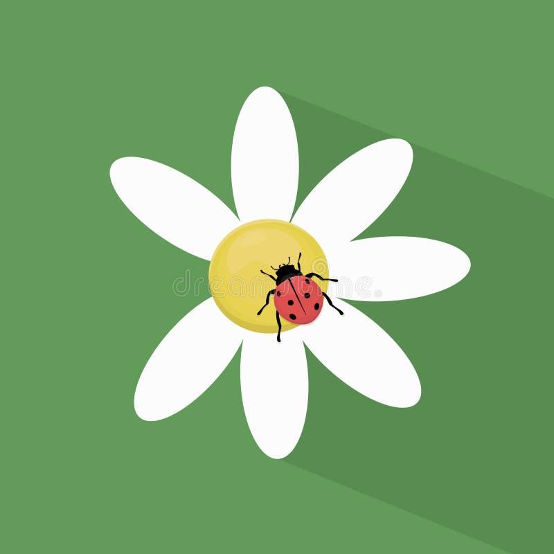 Ladybug на стоцвете иллюстрация штока