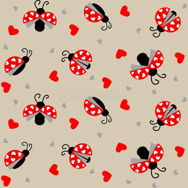 Ladybug с картиной сердец безшовной - вектором иллюстрация вектора
