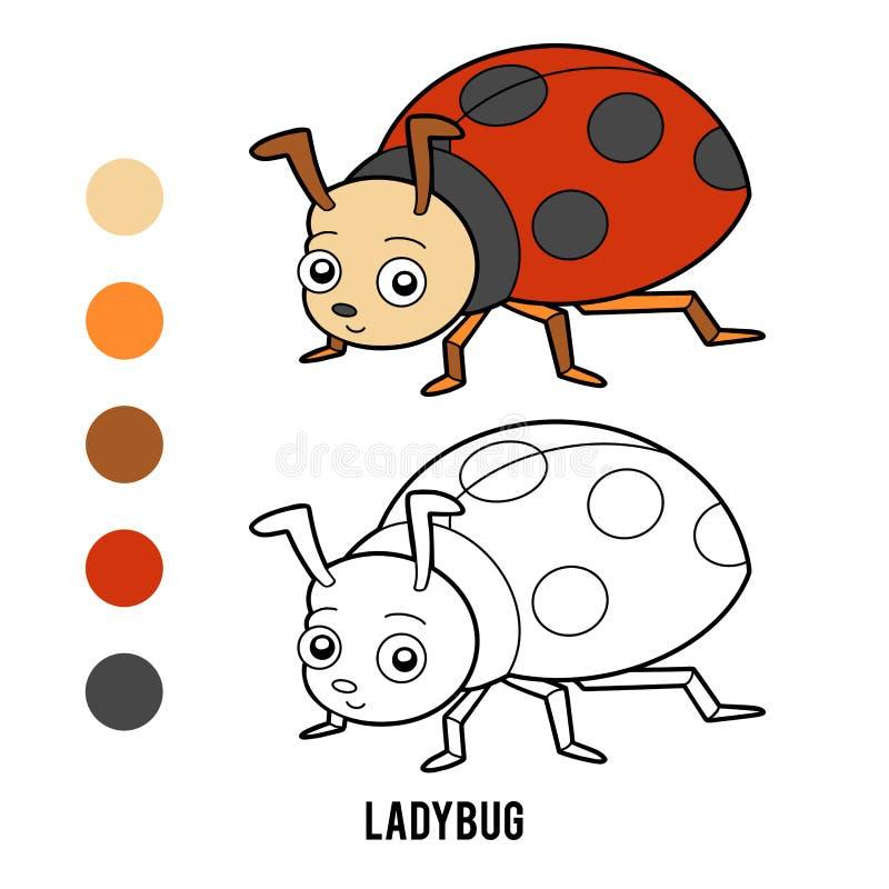 Книжка-раскраска, Ladybug иллюстрация вектора