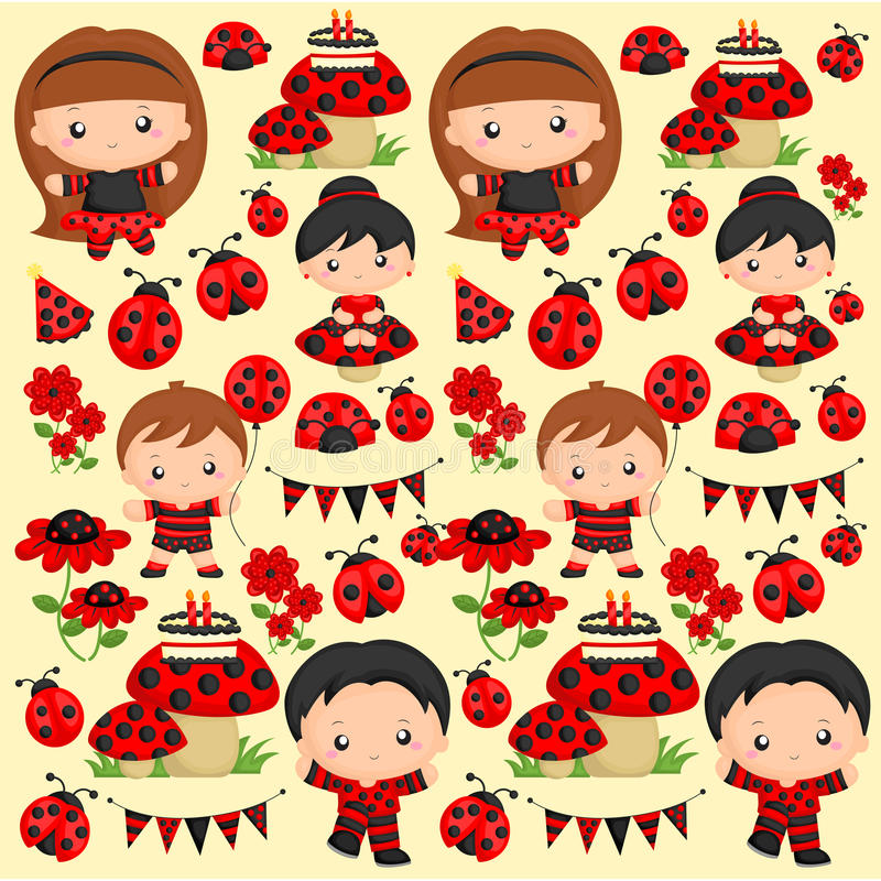 Ladybug Background vector illustration