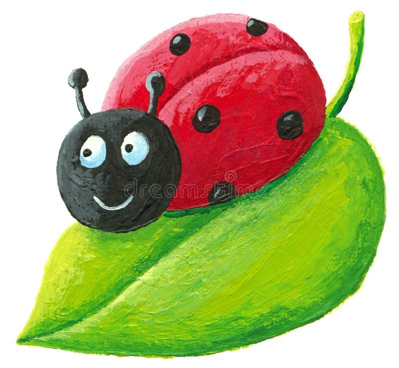 Ladybug bonito na folha verde ilustração royalty free
