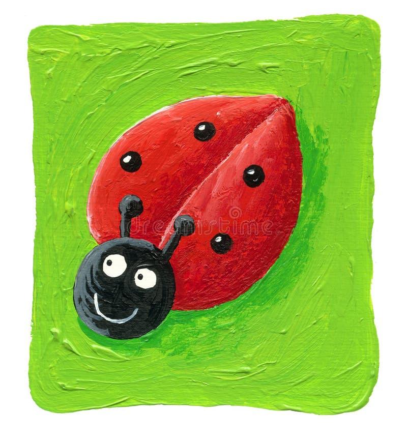 Ladybug bonito no fundo verde ilustração stock