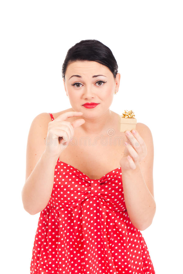 Ladybug and boxed present. Young woman in ladybug-like dress and small boxed present stock photos