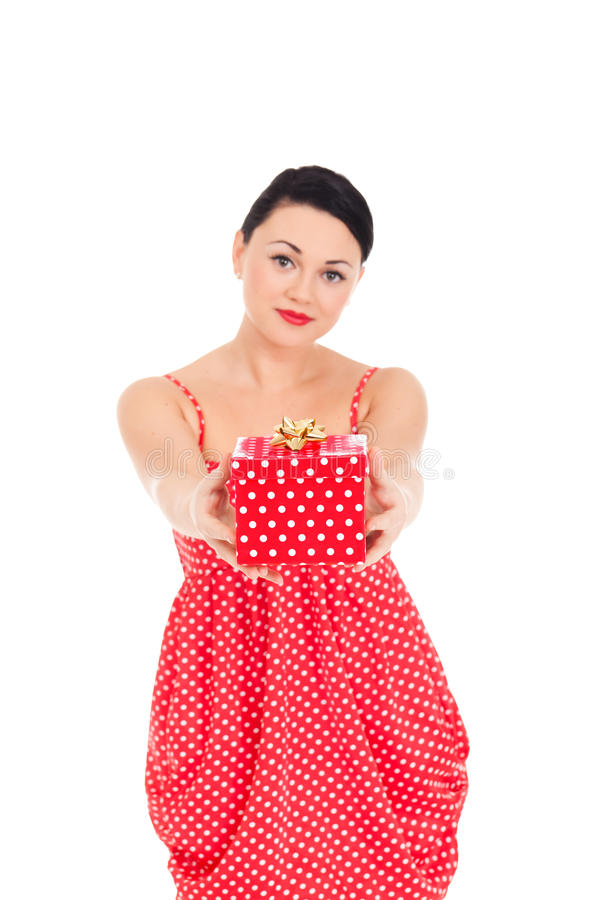 Ladybug and boxed present. Young woman in ladybug-like dress and boxed present stock photography