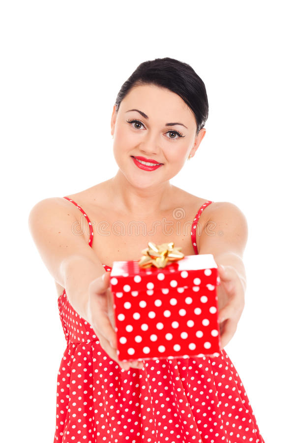 Ladybug and boxed present. Young woman in ladybug-like dress and boxed present stock images