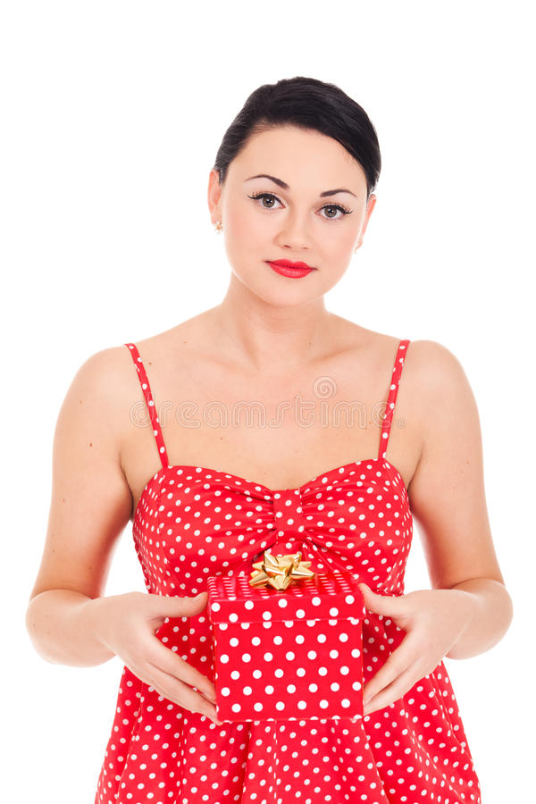 Ladybug and boxed present. Young woman in ladybug-like dress and boxed present royalty free stock photography